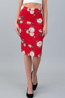Sexy Red Midi Skirt