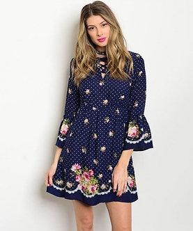 Vintage Bell Sleeve Floral Dress