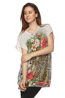 Heather Grey Floral Print Blouse