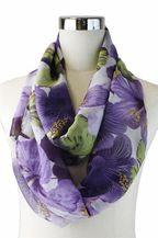 Purple Floral Print Scarf