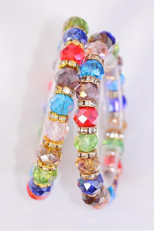 Multi Color Glass Beaded Bracelet