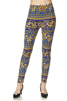Royal Blue/Gold Print Leggings