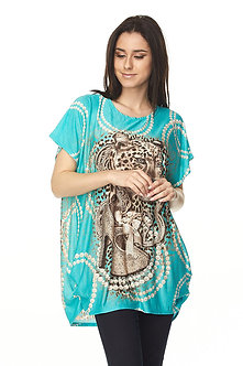 Turquoise Cheetah & Pearls Tunic