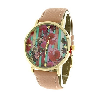 Pink Floral Round Face Watch