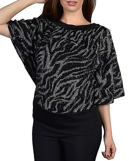 Black/Gry Zebra Blouse