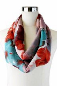 Red Multi Color Floral Print Scarf