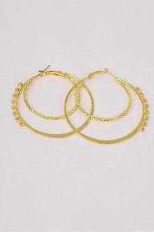 Gold Double Layered Rhinestone Earrings