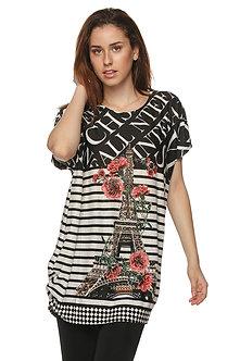 Black/White/Coral Eiffel Tower Tunic