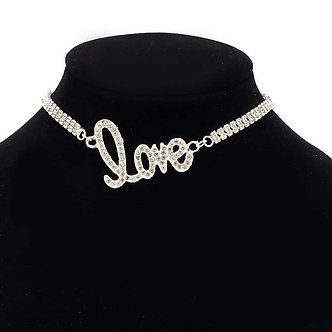 Silver Rhinestone Love Necklace