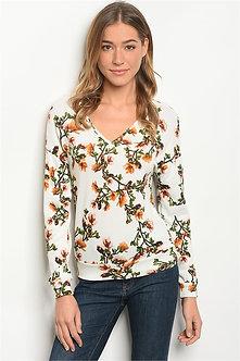 White Floral Long Sleeve Shirt