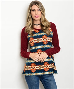Burg/Rust/Blue Tribal Shirt