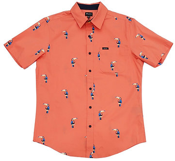 Coral Toucan Printed Button Down Shirt