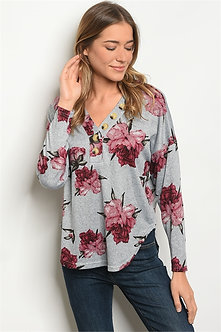 Gray Long Sleeve Floral Shirt