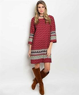 Burgundy Native Print Dress