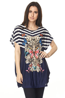 Navy/White Striped Floral Tunic