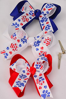 Paw Print Double Layered Hair Bow
