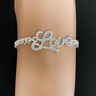 Cursive Letter Rhinestone Bracelet