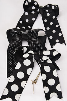 Black Polka Dotted Hair Bow