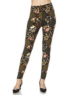 Mustard/Black Floral Print Leggings