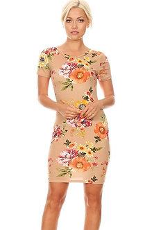 Floral Nude Crew Neck Mini Bodycon Fit Dress