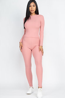 Pink 2 Piece Long Sleeve Fitted Set