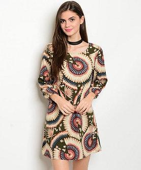 Beige/Olive Medallion Print Dress
