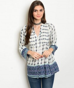 Blue/White Peasant Top
