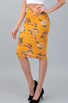 Sexy Mustard Midi Skirt