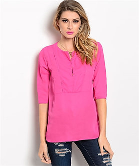 Pink 3/4 Sleeve Blouse