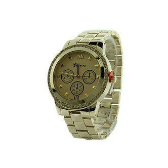 Gold Round Face Crystal Accented Bezel and Pyramid Link Watch