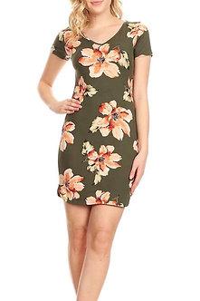 Floral Olive Coral V Neck Curve Hem Midi Bodycon Fit Dress