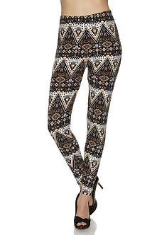 Beige/Black Aztec Print Leggings