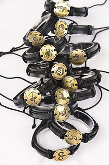 Gold and Black Zodiac Sign Leather Bracelet