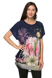 Navy/Pink Tulip Print Tunic