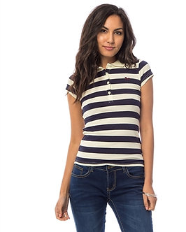 Ivory Stripped Polo Shirt