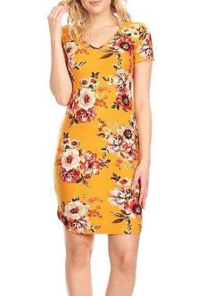 Floral Mustard Red V Neck Curve Hem Midi Bodycon Fit Dress