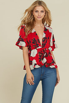 Red Floral Deep V Neck Bell Sleeve Blouse