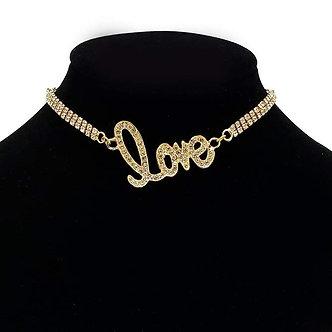 Gold Rhinestone Love Necklace