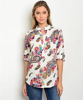 Wht Floral Bandana Print Blouse