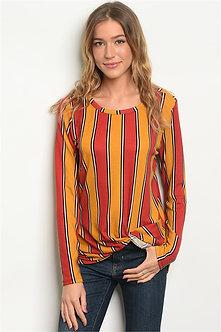 Mustard Long Sleeve Stripe Blouse