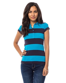 Teal Stripped Polo Shirt