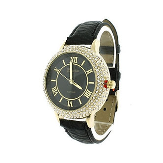 Black Crystal Ring Round Face Watch