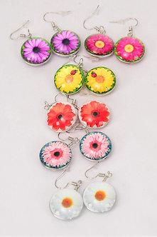 Multi Colored Daisy Earrings
