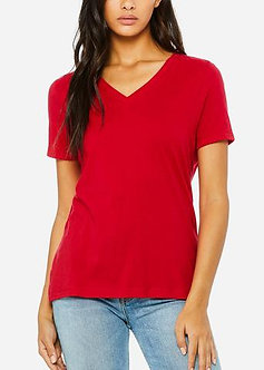 Red Relaxed Jersey V-Neck Tee