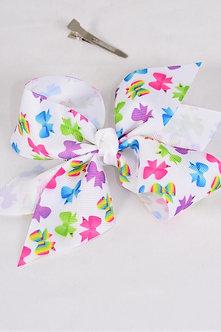 Jumbo Bow Tie Print Hair Bow