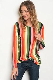 Multi Colored Long Sleeve Stripe Blouse
