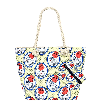 Cute Kitten Rope Tote Multi