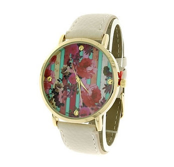 White Floral Printed Round Face Watch
