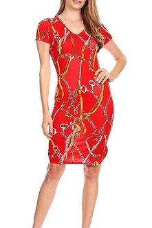 Red Mixed Chain Print V Neck Curve Hem Midi Bodycon Fit Dress