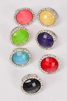 ROUND ADJUSTABLE RING WITH RHINESTONE
